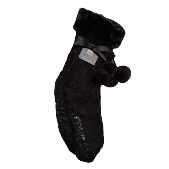 Frye Black Cable Knit Home Sock Slippers